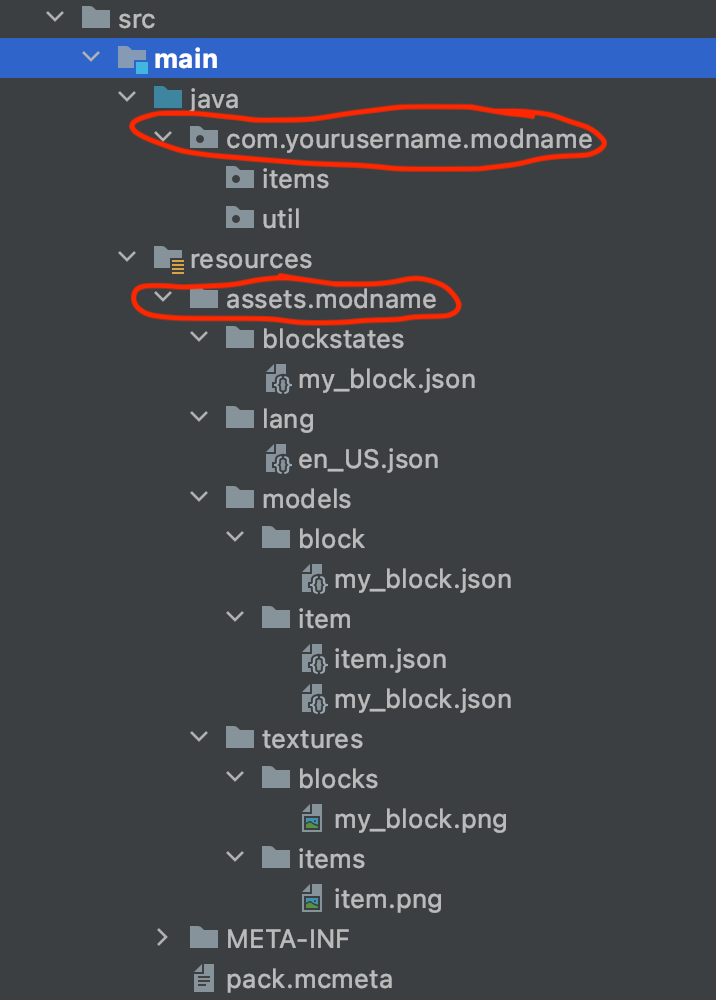 directory list highlighting the ones we need to change